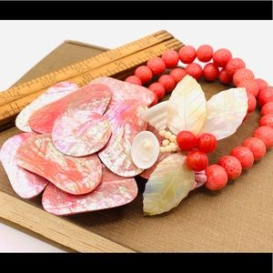 Coral mother of pearl chunky vintage statement necklace new old stock